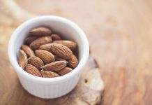 almonds nuts bowl white