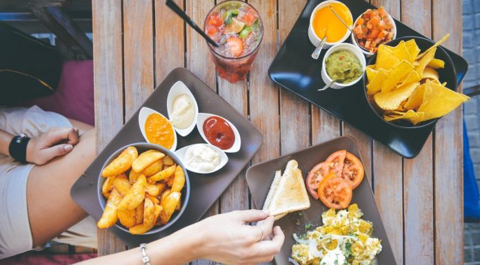 people eating food healthy unhealthy