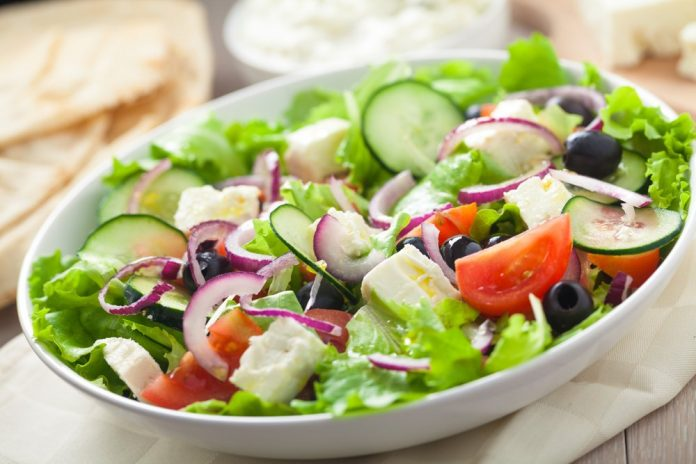 Healthy salad from fast food restaurant
