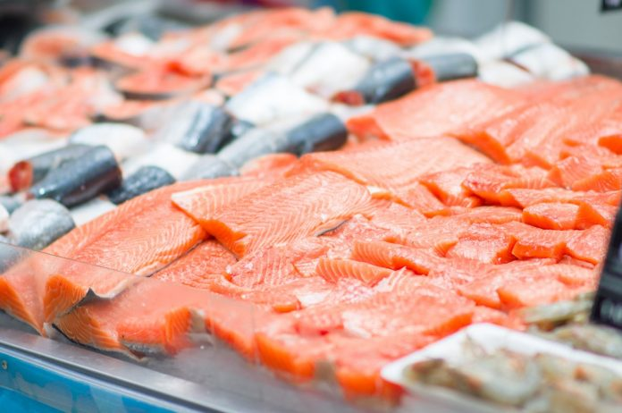 Fresh fish at a grocery store
