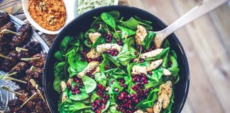 Healthy salad with meat and fruit