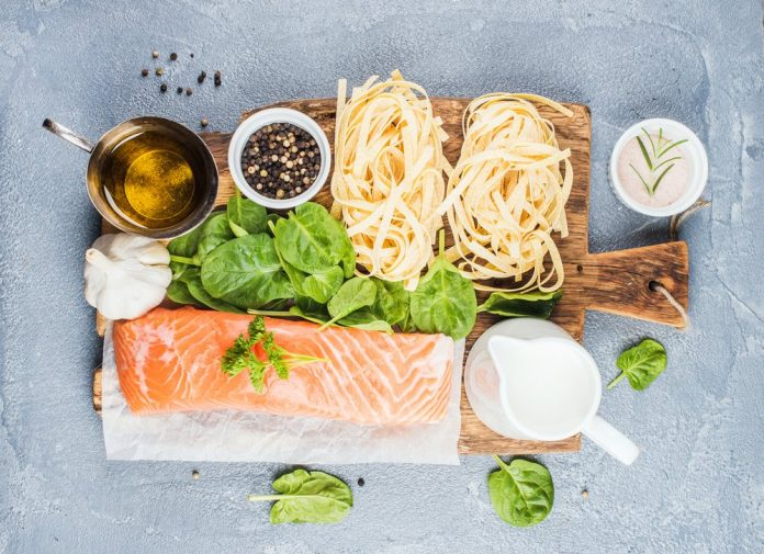 Ingredients for delicious Italian seafood pasta