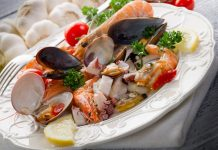 A plate of healthy seafood