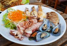 Plate of a variety of seafood