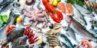 A selection of seafood on ice