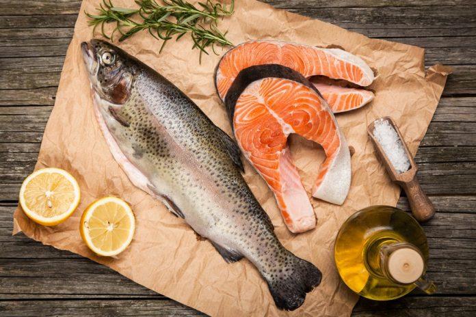 Fresh fish on a chopping board