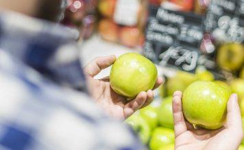 Choosing healthy food at grocery store
