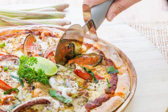 Healthy homemade seafood pizza