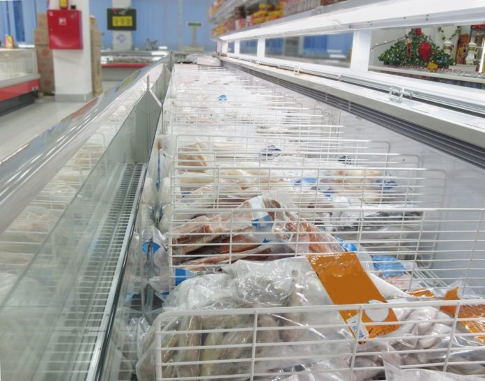 Frozen seafood in a grocery store