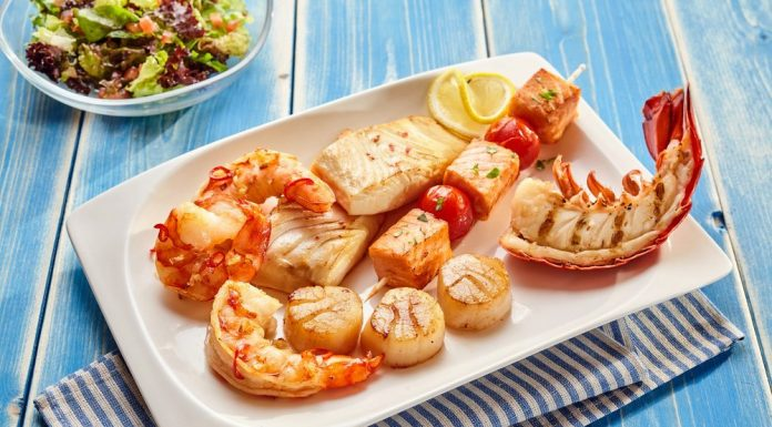 Platter of healthy seafood