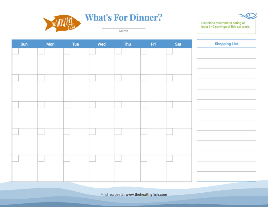 Healthy Fish Meal Planning Dinner Calendar