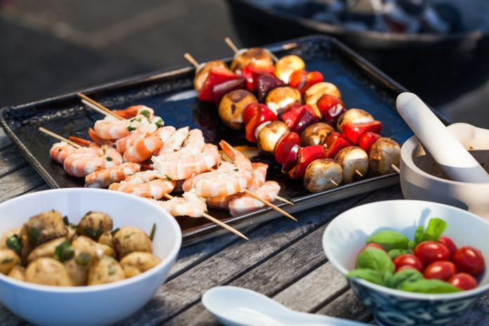 Ingredients set out for a BBQ