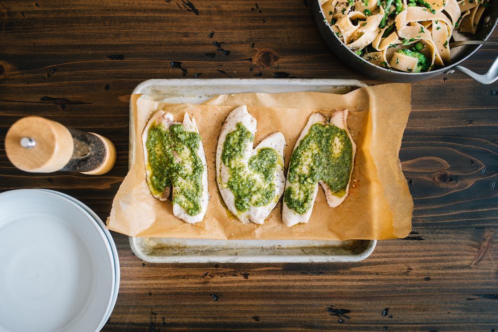 Green Goddess Pasta with Pesto Tilapia