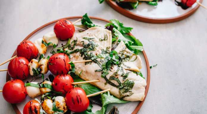 Grilled Tilapia with Caprese Skewers