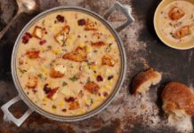 Blackened Tilapia chowder with bacon and corn
