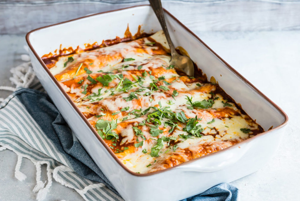 Tilapia enchiladas in oven dish
