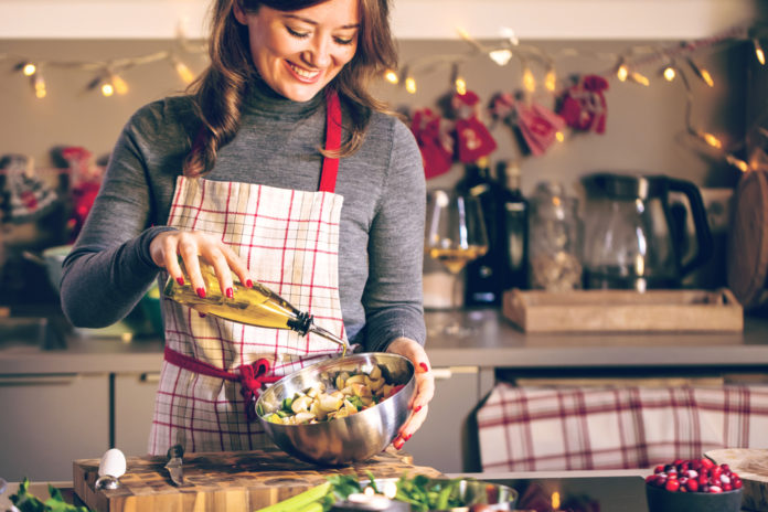 Woman Cooking in the kitchen for the holidays