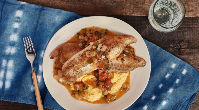 Tilapia with creamy polenta