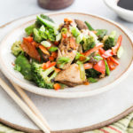 Tilapia stir fry with peppers, broccoli and mushrooms