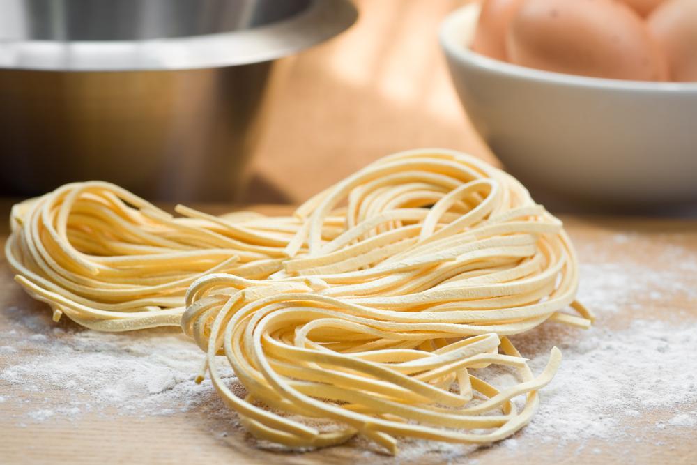 Fresh pasta on table