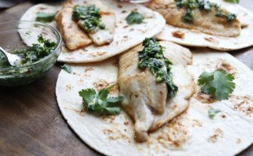 Tilapia tacos with cilantro-lime crema